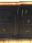Custom kitchen, painted  in a distressed blue. Furniture details are the hallmark of our kitchen designs