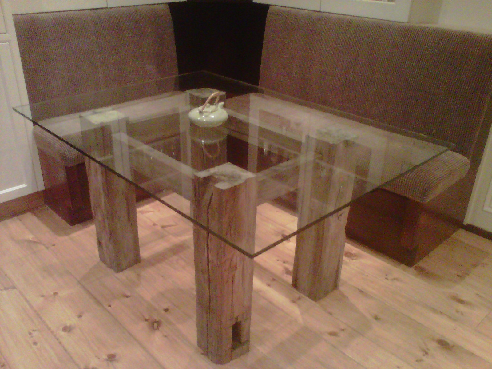 century hewn timber frame glass table