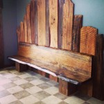 $1400  bench (wall decor sold separately).  Designed  and  crafted  by Historic Building Co
