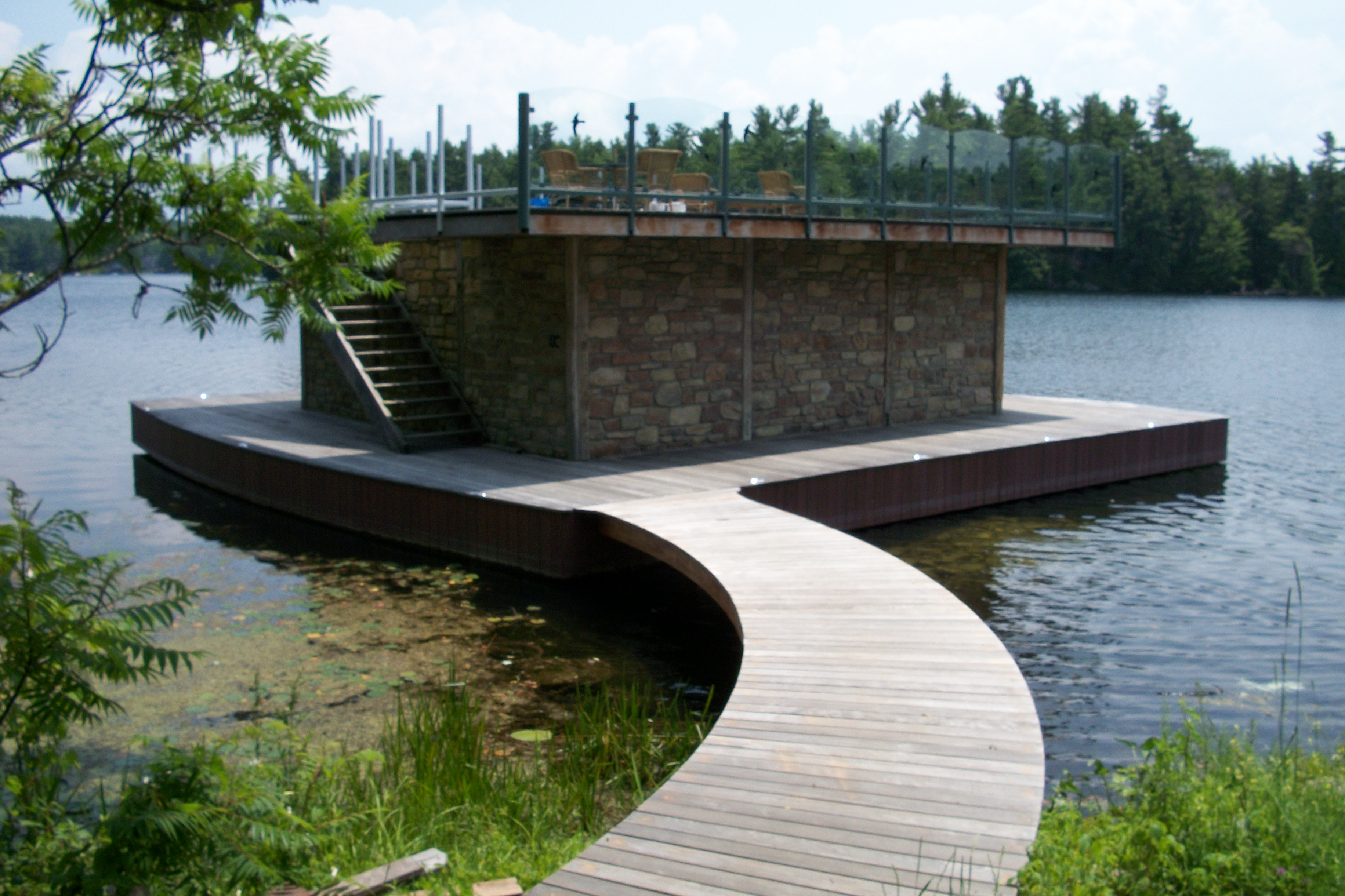 Floating Boathouse Flat Roof Deck Curved Bridge Historic